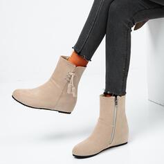 Dla kobiet Zamsz Płaski Obcas Kozaki do polowy lydki Martin Buty Round Toe Z Zamek błyskawiczny Sznurowanie Jednolity kolor obuwie