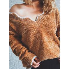 Jednolity Dekolt w kształcie litery V Nieformalny Swetry