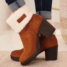 Dla kobiet Zamsz Obcas Slupek Kozaki Botki Buty zimowe Niskie góry Obcasy Buty zimowe Z Zamek błyskawiczny obuwie