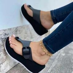Women's PU Flat Heel Sandals Platform Wedges Peep Toe Flip-Flops Slippers Heels With Buckle shoes