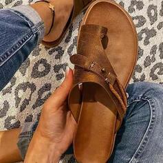 Dla kobiet PU Płaski Obcas Sandały Plaskie Kapcie Pierścień na palec Z Tkanina Wypalana Jednolity kolor obuwie
