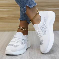 Dla kobiet Material Tkanina mesh Płaski Obcas Plaskie Round Toe Tenisówki Z Sznurowanie Kolor splotu obuwie