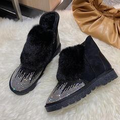 Dla kobiet Byszczący brokat Material Płaski Obcas Botki Buty zimowe Round Toe Z Byszczący brokat Zamek błyskawiczny Jednolity kolor obuwie