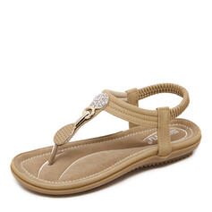 Women's PU Flat Heel Sandals Flats Peep Toe Flip-Flops With Rhinestone shoes