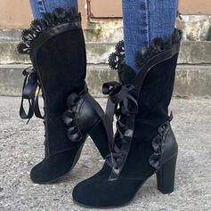 Dla kobiet PU Obcas Slupek Kozaki Kozaki do polowy lydki Z Marszczenie Sznurowanie obuwie