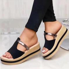 Dla kobiet Prawdziwa Skóra Obcas Koturnowy Sandały Kapcie Z Tkanina Wypalana Łączona obuwie