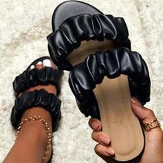 Dla kobiet Skóra ekologiczna Płaski Obcas Sandały Otwarty Nosek Buta Z Jednolity kolor obuwie