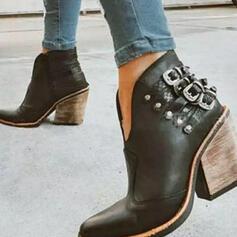 Dla kobiet PU Obcas Slupek Botki Spiczasty palec u nogi Z Nit Klamra obuwie