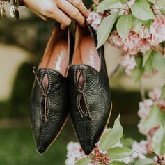 Dla kobiet Skóra ekologiczna Płaski Obcas Plaskie Niskie góry Niesznurowane mokasyny Z Tkanina Wypalana obuwie