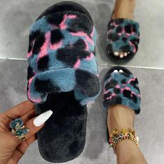 Dla kobiet PU Płaski Obcas Sandały Otwarty Nosek Buta Kapcie Z Nadruk Zwierzęcy obuwie