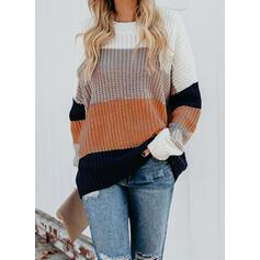 Blok Koloru Okrągły dekolt Nieformalny Swetry