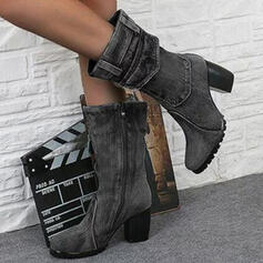 Dla kobiet PU Obcas Slupek Kozaki do polowy lydki Round Toe Z Zamek błyskawiczny Jednolity kolor obuwie