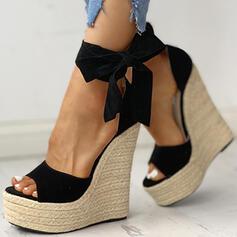 Dla kobiet PU Obcas Koturnowy Sandały Koturny Otwarty Nosek Buta Obcasy Z Sznurowanie obuwie