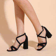 Women's Fabric Chunky Heel Sandals Pumps Peep Toe Heels With Buckle Hollow-out shoes