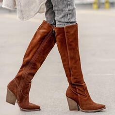 Dla kobiet Zamsz Obcas Slupek Kozaki Buty zimowe Z Zamek błyskawiczny Jednolity kolor obuwie