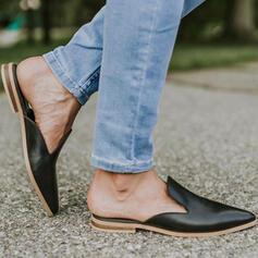 Dla kobiet Skóra ekologiczna Płaski Obcas Plaskie Niskie góry Slajd i muły Niesznurowane mokasyny Z Jednolity kolor obuwie