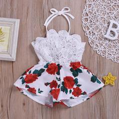 Dziewczynki 0-24mc Kwiatowy Koronka Nadruk Bawełna Suknia