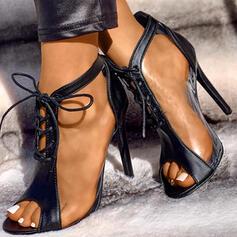 Dla kobiet PU Obcas Stiletto Otwarty Nosek Buta Z Sznurowanie obuwie
