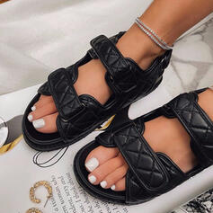 Women's PU Flat Heel Sandals Flats Peep Toe With Bowknot Hollow-out Velcro shoes