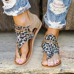 Dla kobiet Skóra ekologiczna Tkanina Płaski Obcas Sandały Z Nadruk Zwierzęcy Zamek błyskawiczny obuwie