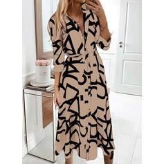 Print 3/4 Sleeves A-line Shirt/Skater Casual Midi Dresses