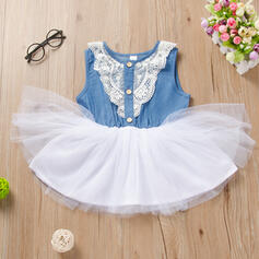 Toddler Girl Lace Denim Cotton Dress