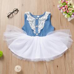 Dziewczynki 2-5lat Koronka Dżinsowa Bawełna Suknia