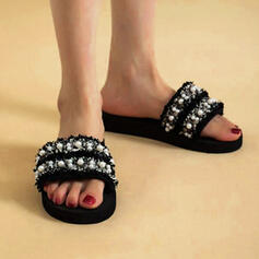 Women's Cloth Flat Heel Sandals Flats Peep Toe Slippers With Beading Hollow-out shoes