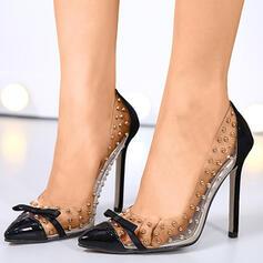 Dla kobiet PU Obcas Stiletto Spiczasty palec u nogi Z Nit Kolor splotu obuwie