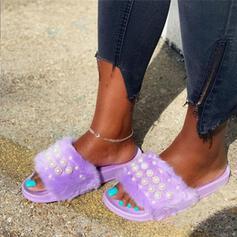 Dla kobiet Zamsz Skóra ekologiczna Płaski Obcas Sandały Platforma Otwarty Nosek Buta Kapcie Z Imitacja Pereł Futro obuwie