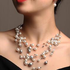Świecący Elegancki Warstwowe Stop Faux Pearl Zestawy biżuterii Naszyjniki Kolczyki 3 SZT