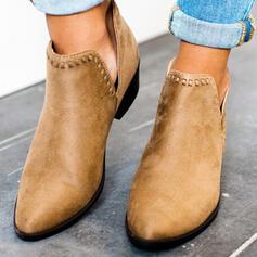 Dla kobiet Zamsz Obcas Slupek Botki Niskie góry Spiczasty palec u nogi Z Jednolity kolor obuwie