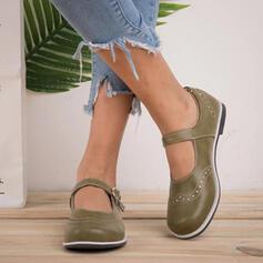 Dla kobiet Skóra ekologiczna Płaski Obcas Plaskie Niesznurowane mokasyny Z Klamra obuwie