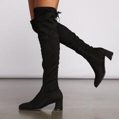 Women's Suede Chunky Heel Over The Knee Boots Pointed Toe With Zipper Lace-up shoes