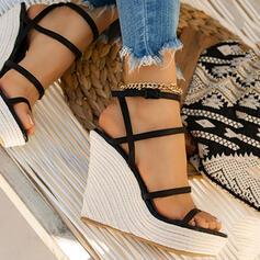 Dla kobiet Mikrofibra Obcas Koturnowy Czólenka Z Jednolity kolor obuwie