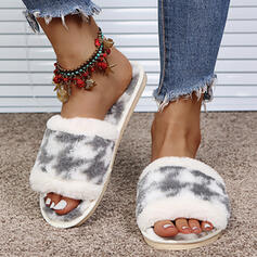 Dla kobiet Zamsz Płaski Obcas Sandały Otwarty Nosek Buta Kapcie Z Kolor splotu obuwie