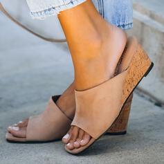 Dla kobiet Zamsz Obcas Koturnowy Sandały Koturny Otwarty Nosek Buta Kapcie Z Jednolity kolor obuwie