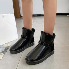 Dla kobiet PU Płaski Obcas Botki Round Toe Z Byszczący brokat Jednolity kolor obuwie