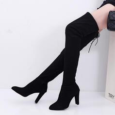 Dla kobiet Zamsz Obcas Slupek Kozaki Muszkieterki Z Sznurowanie obuwie