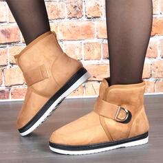 Dla kobiet Zamsz Płaski Obcas Buty zimowe Round Toe Z Rzep Jednolity kolor obuwie