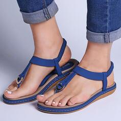 Dla kobiet PU Płaski Obcas Sandały Otwarty Nosek Buta Niskie góry Pierścień na palec Z Tkanina Wypalana Elastic Band Jednolity kolor obuwie