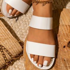 Dla kobiet Skóra ekologiczna Płaski Obcas Sandały Plaskie Otwarty Nosek Buta Bez Pięty Kapcie Z Łączona obuwie