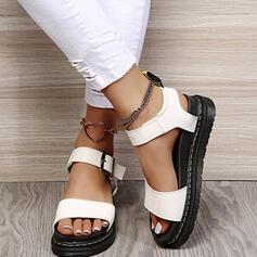 Dla kobiet PU Płaski Obcas Sandały Plaskie Platforma Otwarty Nosek Buta Bez Pięty Z Klamra Jednolity kolor obuwie