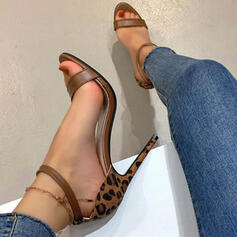 Women's PU Stiletto Heel Pumps Peep Toe Heels With Buckle Animal Print Hollow-out shoes