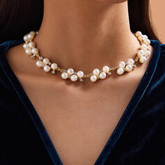 Elegant Alloy Rhinestones Imitation Pearls With Imitation Pearl Rhinestone Women's Necklaces 1 PC