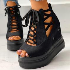 Dla kobiet Skóra ekologiczna Byszczący brokat Obcas Koturnowy Japonki Kapcie Z Tkanina Wypalana Bandaż W kratke obuwie