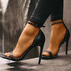 Women's PU Stiletto Heel Pumps Peep Toe With Rivet Buckle shoes