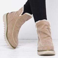 Dla kobiet Zamsz Obcas Koturnowy Buty zimowe Buty zimowe Z Sztuczne Futro Jednolity kolor obuwie