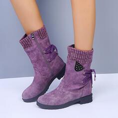 Dla kobiet Skóra ekologiczna Niski Obcas Kozaki Z Sznurowanie obuwie