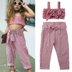 2-pieces Toddler Girl Bowknot Plaid Striped Cotton Sets